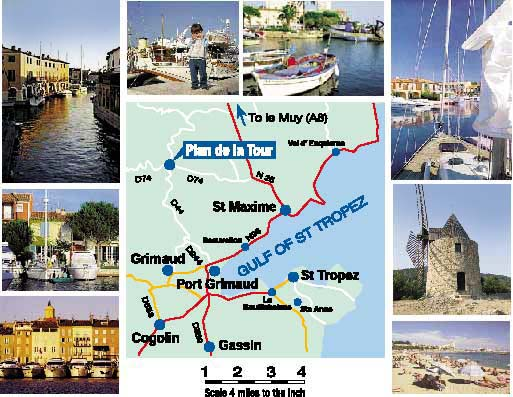 Images of St Tropez, Port Grimaud, Grimaud windmill. Boats moored.in Port Grimaud and on the quay at St Tropez. Location map showing Plan de la Tour, St Maxime and St Tropez.