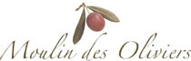 Moulin des Olivier logo. An olive green script typface and an illustraton of an olive. leaf and branch