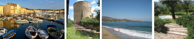 Images of St Tropez, the Moulin des Olivier Tower, beach at Ste Maxime and Moulin swimming pool viewed from Tower steps.